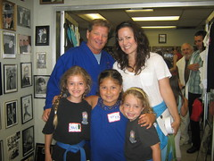 Two of my karate kids with Shannon Lee and her daughter after a Big Karate Kid Birthday Party!!