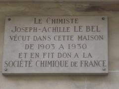 Photo of Joseph-Achille Le Bel white plaque