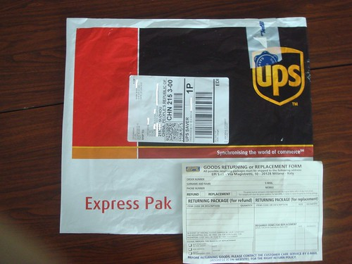 UPS package and returning form