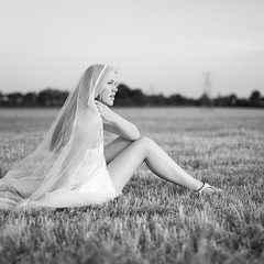 By the sunset (ted.kozak) Tags: portrait bw white 6x6 look digital square evening fields gown ieva kozak explored sigma50mmf14 canoneos5dmarkii tedkozak
