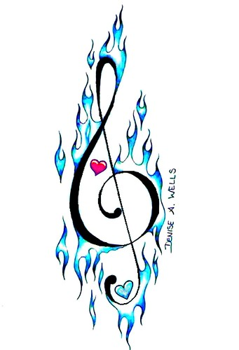 Treble Clef Tattoo Design with a little flameage.MUSIC on FIRE!