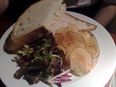 Poached salmon, dill and pickled cucumber sandwich at The Queens Arms, Edinburgh