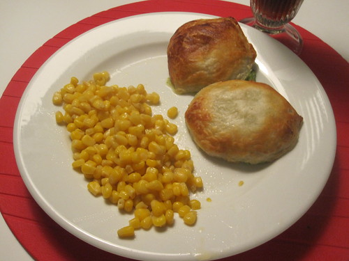Broccoli turnovers, corn, diet coke