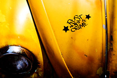 ★ rust is not a crime ★ (ion-bogdan dumitrescu) Tags: light abandoned car yellow vw volkswagen gold graffiti golden stencil rust beetle rusty crime romania hood headlight bucharest bitzi mg3248 ibdp ibdpro wwwibdpro ionbogdandumitrescuphotography