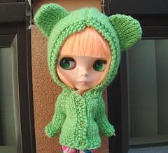 Celadine in a new bear hoodie