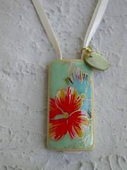 Bamboo Tile Necklace - Tropical Hues (sakuradesigngirl) Tags: handmade jewelry hibiscus tropical handcrafted etsy aquagreen ribbonnecklace bamboopendant sakuradesign ecofriendlypendant