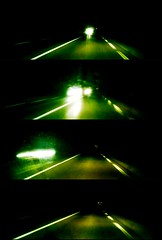 Road at night (04) - 04Jun10, Bourgogne (France) (]) Tags: road light blur green car night dark landscape four lights movement blurry darkness lumire pano 4 wide perspective vert panoramic v