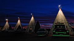 Vintage Cars Parked in Front of Tee-Pees at the Wigwam Motel in Holbrook, Arizona on Route 66 (Greg - AdventuresofaGoodMan.com) Tags: road park travel sunset arizona usa pee car america hotel route66 nikon highway parkinglot greg antique parking lot motel az lodge americana motor teepee tee holbrook wigwam goodman motherroad motorlodge wigwamhotel d80 nikond80 greggoodman