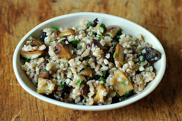 Farro Salad with Roasted Mushrooms & Parmesan