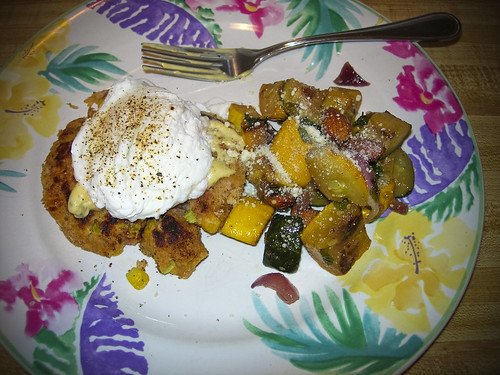 leftovers, salmon cake eggs 'benedict' and squash/zucchini served cold with parmesan