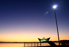 Sail Away - Woody Point, Brisbane (Eloise Claire) Tags: ocean sunset beach water lamp beautiful point bay pier boat lowlight sand origami colours dusk streetlamp jetty woody australia brisbane adventure explore qld queensland lowtide redcliffe sailaway margate slowshutterspeed longexposuretime woodypoint woodypointjetty woodypointpier