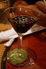 Wasabi-adhered soy sauce cocktail (quinn.anya) Tags: green boulder cocktail soysauce martiniglass wasabi sesameseeds japango