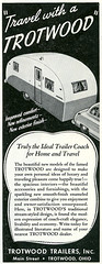 Trotwood Trailer_tatteredandlost (T and L basement) Tags: travel ephemera rv 1949 traveltrailer recreationalvehicle trotwoodtrailer vintagetrailermagazinead holidaymagazinead1949