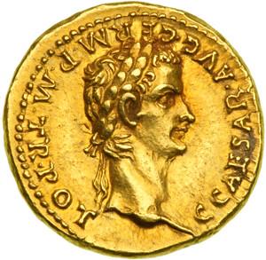 Caligula AV Aureus. Lyons mint, 37-38 AD. C CAESAR AVG GERM P M TR POT, laureate head right
