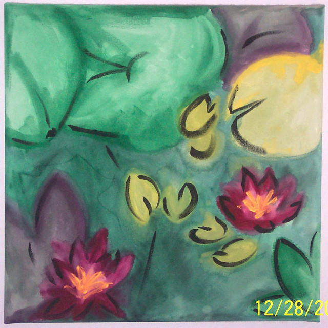 Lotus Painting - Acrylic on Canvas by Houston Based Artist JJ Lassberg