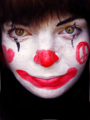 365/200(!!) - portrait of a clown. (tulipnka) Tags: pink red portrait white selfportrait black love smile face sign self project painting hair nose is eyes paint day peace heart bokeh clown canvas 200 365 facepaint project365 365days portraitur