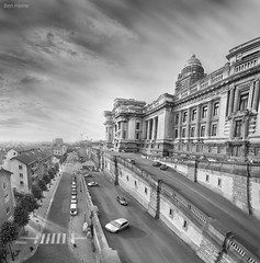 Palace of Justice, Brussels (Ben Heine) Tags: road trees houses windows light brussels wallpaper mist signs streets art cars tourism monument fog architecture clouds print poster photography drive vanishingpoint big cityscape belgium palaisdejustice cloudy pov parking perspective fences bruxelles landmark sharp massive walls lawyers portfolio curved copyrights difice rues depth brouillard faade voitures distorsion vibration fentres palaceofjustice pavements dme pavs mattepainting luminosity highquality justitiepaleis courtbuilding theartistery trottoirs secte avocats franoisschuiten eclecticstyle creativecomposition benheine congrsnational josephpoelaer
