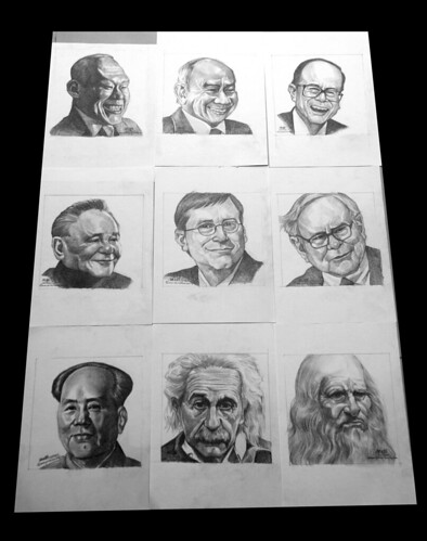 Pencil portraits of famous people and world leaders