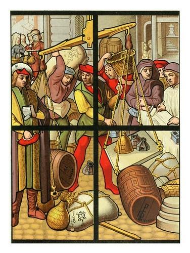 012-Mercaderes al por mayor Vitral siglo XV catedral de Tournai-Le moyen äge et la renaissance…Vol III-1848- Paul Lacroix y Ferdinand Séré