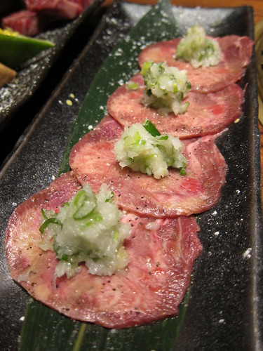 Spring onion and salt on slice ox tongue/鹽蔥牛舌