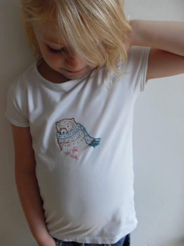 Bear embroidery on T shirt