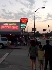 P1040792 (dreamyshade) Tags: family 1955 sign losangeles neon dusk streetlamp pizza palmtrees pedestrians restaraunt eaglerock pizzapie casabianca lawnchairs coloradoboulevard vincentavenue spaghettilasagnaravioli