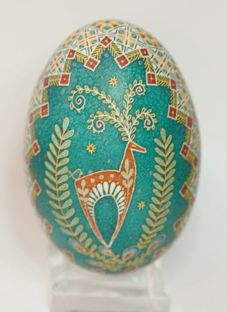 Orange Stylized Deer on Turquoise Background Pysanky with Wide Eternity Band