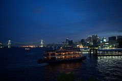 Boat Party (Mr. FRANTaStiK) Tags: nightphotography bridge seascape japan landscape tokyo pier boat twilight ship nightscape dusk citylights shinagawa odaiba bluehour magichour boatparty tokyobay rainbowbridge fongetz francistan
