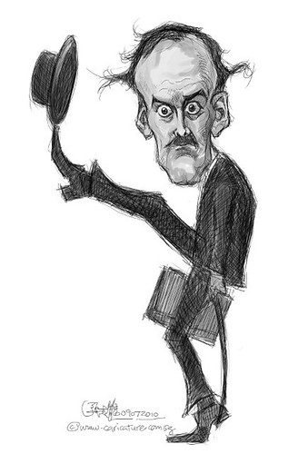 digital caricature of John Cleese - 2 b&w small