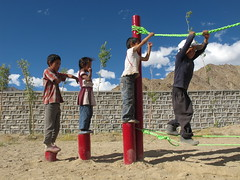 Local children lining up on the Ropes course (JonnyConga) Tags: india mountains trekking leh himalayas ladakh