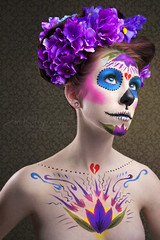 Day 21/365: Dia de los Muertos (Zim Killgore) Tags: california flowers make up canon project hair de dead photography los rachel colorful day bright or dia muertos 5d natalie 365 mitchell zim temecula gorman killgore