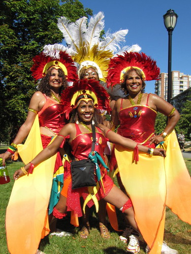 Four girls in parade costumes, Caribbean Days Festival 2010 African, Trinidad & Tobago, Jamaica and West Indies Celebration