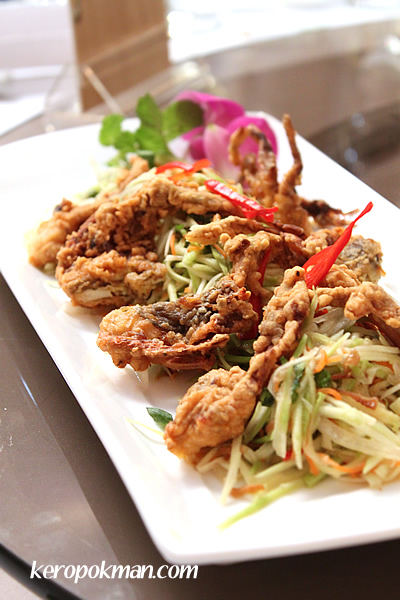 Salt and pepper soft shell crab, served with green mango salad
