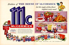 McCormick Ad (saltycotton) Tags: life orange 1955 cooking coffee cookies cake vintage turkey magazine pepper baking salad lemon radishes tea cinnamon tomatoes ad almond apron advertisement lettuce spices 1950s eggs vanilla parsley housewife celery paprika peppermint schilling pyrex mccormick cloves chilipowder foodcoloring allspice garlicsalt onionsalt