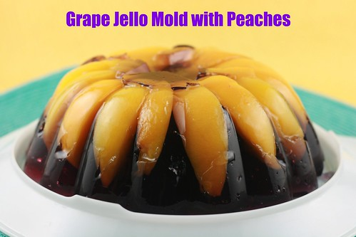 Grape Jello Mold with Peaches