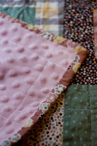 Minkee backing on quilt