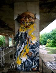 Sniff it (Fat Heat .hu) Tags: wall illustration graffiti 3d flame fume spraycan 2010 warsawa cfs coloredeffects mtn94