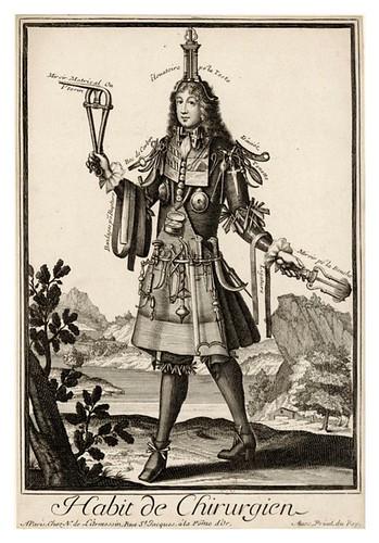 039-Vestimenta de cirujano-Les Costumes Grotesques 1695-N. Larmessin-BNF