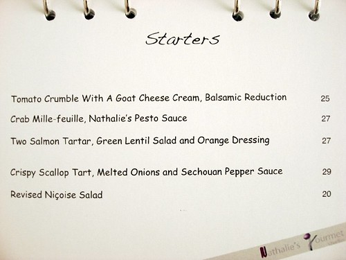 nathalie Gourmet studio aug menu