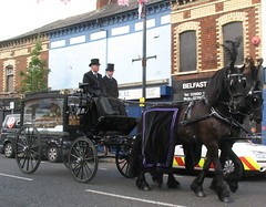 Alex Higgins funeral passes Sandy Row (jackeeadio) Tags: ireland horses carriage belfast flags funeral northernireland unionjack snooker hearse sandyrow hurrican ulster tophats terracedhouses alexhiggins
