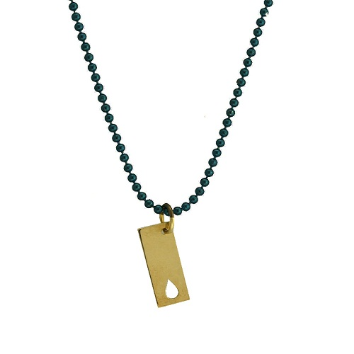Gold Rectangle Charm with a Flame Cutout by Allumer.