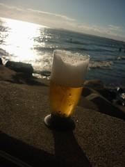 夕焼け+ビール