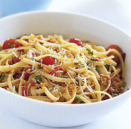 linguine-pasta-roasted red peppers sauce
