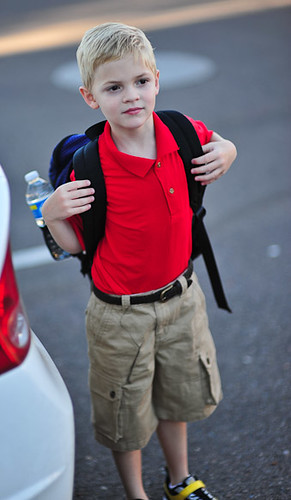 Young school child with Backpack