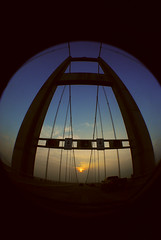 74 (Kathryn. Nicole.) Tags: trip bridge sunset sun silhouette drive roadtrip fisheye baybridge chesapeakebay
