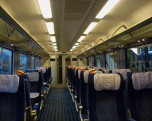 British charter train - Interior of a first (1st) class carriage
