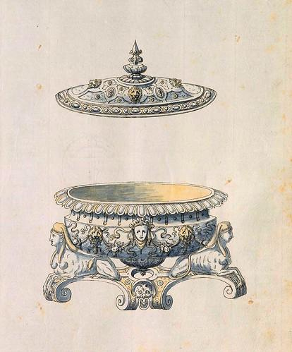 010-Fuente de mesa-Entwürfe für Prunkgefäße in Silber mit Gold-BSB Cod.icon.  199 -1560–1565- Erasmus Hornick