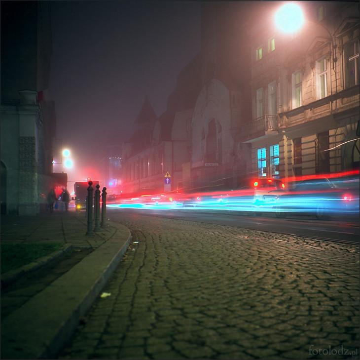 Ulica Tuwima w Łodzi nocą