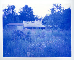 Gamble (patrickjoust) Tags: camera blue abandoned film me rural america project polaroid paul one 1 boat highway alone united country north maine rangefinder route v automatic land instant epson 100 states 500 northern expired limited range gamble finder impossible 430 estados roid the unidos v500 autaut giambarba editiion