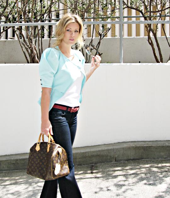 vintage ungaro jacket+louis vuitton speedy+shadows+j brand bell bottoms sharp bright